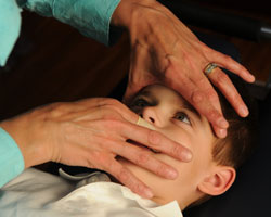 A boy having cranial work done